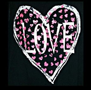julie's closet Tops - *FINAL*Lace Back Heart Love Graphic Tank Black 1X
